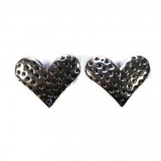 Spotty Heart Silver Earrings
