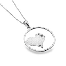 Heart In Circle Silver Necklace