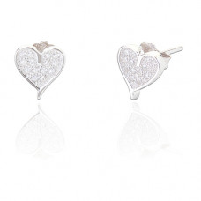 Heart Shaped Diamante Earrings