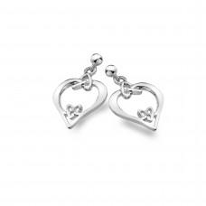 Celtic Heart With Heart Knots Stud Earrings