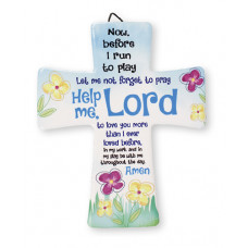 Help Me Lord Porcelain Prayer Cross Blue