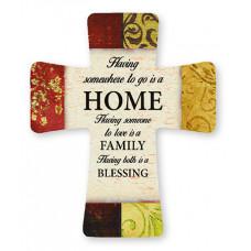 Porcelain Cross - Home, Family, Blessing
