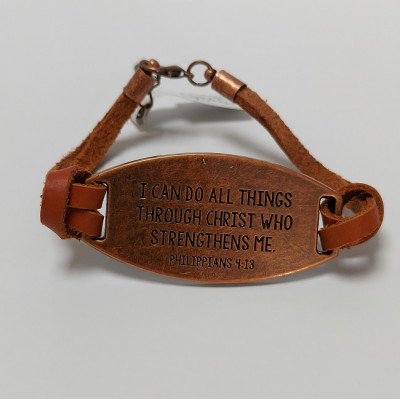 I Can Do All Things Leather And Metal Bracelet
