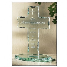 In Appreciation For Your Service Glass Cross