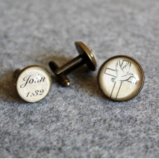 Cufflink And Lapel Pin Set - Cross And Dove