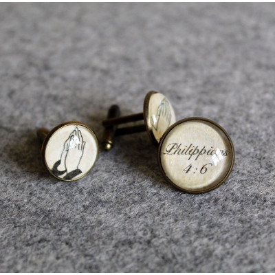 Cufflink And Lapel Pin Set - Praying Hands