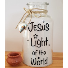Glass Jar With LED - Jesus Is The Light Of The World