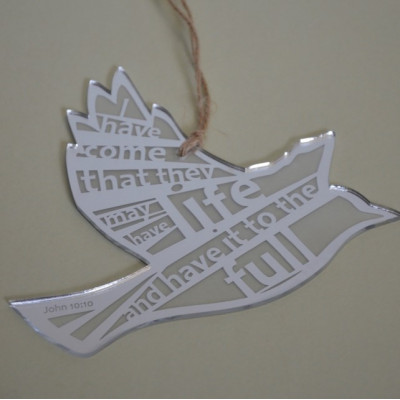 Life to the Full Silver Laser Cut Hanging Bird
