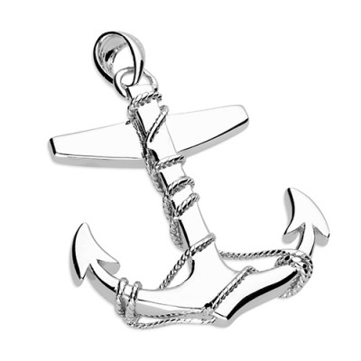 Large Anchor And Twisted Rope Necklace