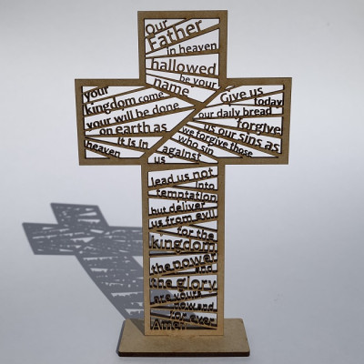 Lord's Prayer Standing Laser Cut Cross