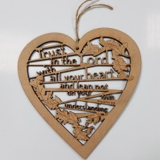 Trust In The Lord Wooden Laser Cut Hanging Heart