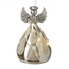 Light Up Glass Angel With Pearl Skirt