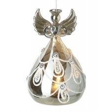 Light Up Glass Angel With Swirl Skirt
