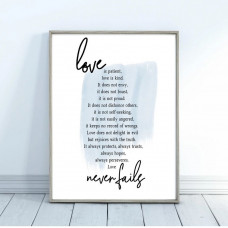 Love Is Patient Hand Lettering Print A4 Blue
