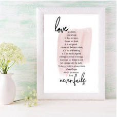 Love Is Patient Word Print A5 Pink