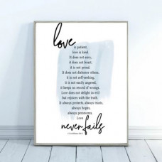 Love Is Patient Word Print A5 Blue