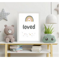 Child's Loved Print For Nursery A4