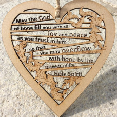 May The God Of Hope Wooden Hanging Heart