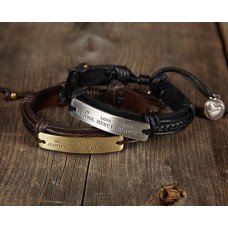 Micah Plaited Leather and Metal Bracelet - Silver Effect Metal