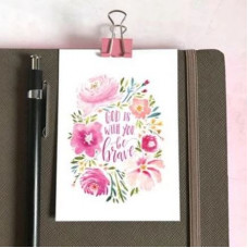 Mini Card: Be Brave Pink Flowers