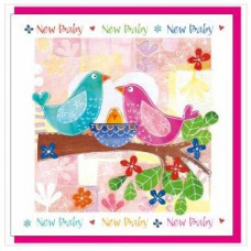 New Baby Card with Birds - With Verse