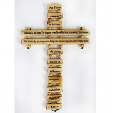 Olive Wood Lord's Prayer Cross