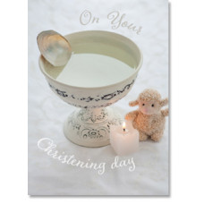 Christening Scene With Toy Lamb Card