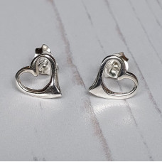 Silver Heart Outline Earrings
