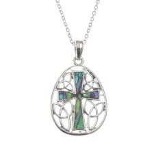 Paua Shell Celtic Cross Pendant