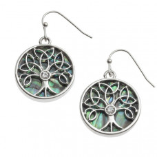 Paua Shell Tree Of Life Earrings