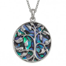 Paua Shell Tree Of Life Leaves Necklace