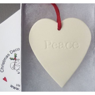 Hanging Ceramic Heart Peace