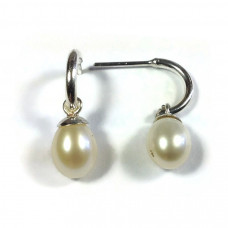 Half Hoop Pearl Earrings