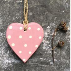 Pink Polka Dot Wooden Hanging Heart