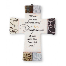 Porcelain Cross - Footprints