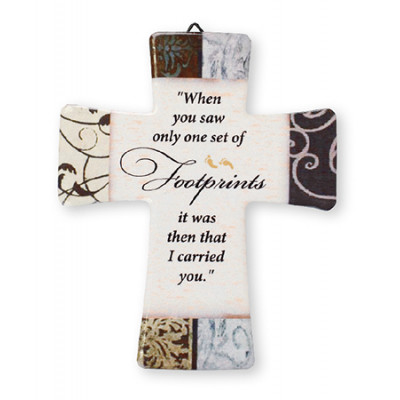 Porcelain Cross - Footprints