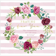 Praying For You Roses Wreath Card