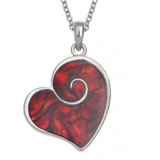Red Paua Shell Heart Swirl Necklace