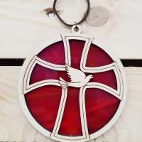 Circular Wood And Glass Dove Sun Catcher