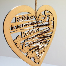 Rejoice in the Lord Wooden Hanging Heart