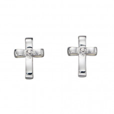 Ribbon Effect Cross Earrings
