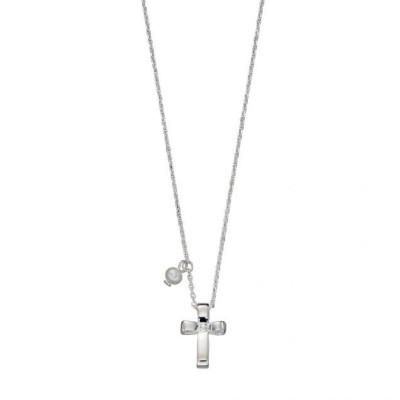 Ribbon Effect Sterling Silver Cross