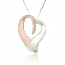 Silver Twisted Rose Gold Plated Heart Pendant