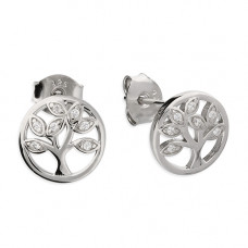 Round Tree Of Life Earrings With Cubic Zirconia