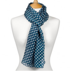 Scarf With Scripture Polka Dot Blue - Be Strong And Courageous