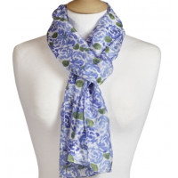 Scarf With Scripture Posey Blue Grey - Shepherd