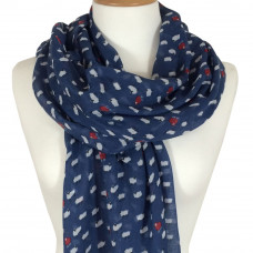 Scarf with Scripture Sheep Navy