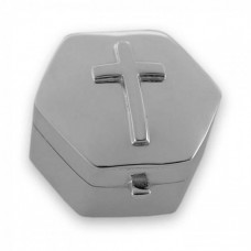 Silver Cross Hexagonal Box
