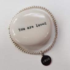 Love Silver Bead Bracelet