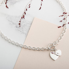 Heavy Silver Chain Necklace With Two Hearts